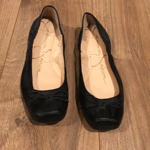 Jessica Simpson Leve black leather ballet flats